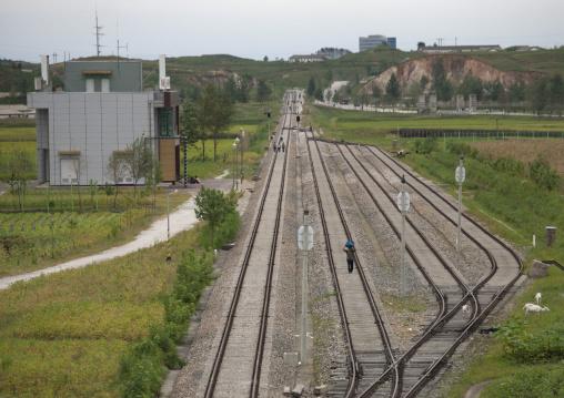Empty reunification train station, North Hwanghae Province, Kaesong, North Korea