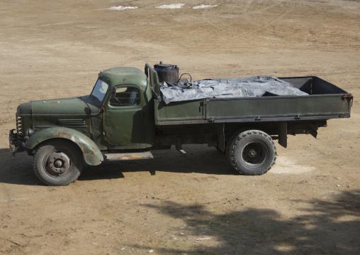A North Korean truck running on gasified wood, South Pyongan Province, Chongsan-ri Cooperative Farm, North Korea