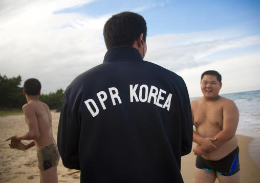 North Korean judo team on a beach, North Hamgyong Province, Chilbo Sea, North Korea
