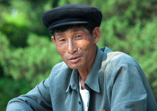 Portrait of a North Korean man with a cap, North Hwanghae Province, Kaesong, North Korea