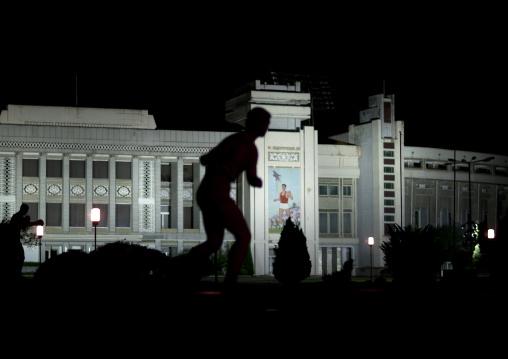 Rungrado first of may stadium at night, Pyongan Province, Pyongyang, North Korea