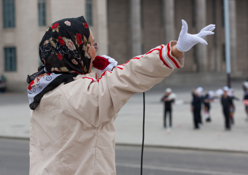 Young North Korean women during a mass games rehearsal in Kim il Sung square, Pyongan Province, Pyongyang, North Korea