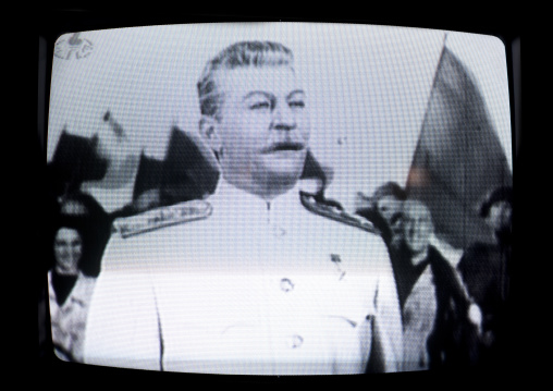 Actor playing staline in an old russian movie on the North Korean television, Pyongan Province, Pyongyang, North Korea