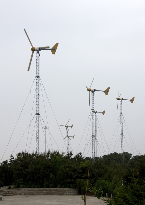 Wind turbines on a hill, South Pyongan Province, Nampo, North Korea