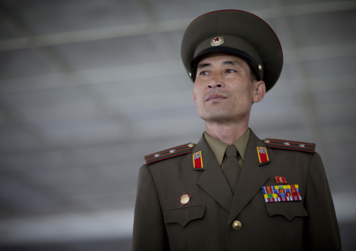 North Korean officer in the joint security area of the Demilitarized Zone, North Hwanghae Province, Panmunjom, North Korea