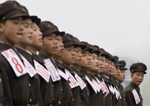 North Korean army rehearsal parade on Kim il Sung square, Pyongan Province, Pyongyang, North Korea