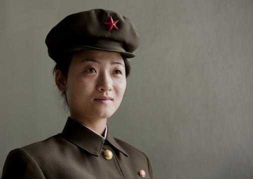 Portrait of a North Korean woman soldier with a cap, Pyongan Province, Pyongyang, North Korea
