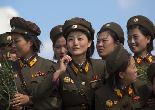 North Korean soldiers women posing for a photo souvenir, Pyongan Province, Pyongyang, North Korea