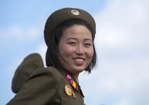 Portrait of a smiling North Korean female soldier, Pyongan Province, Pyongyang, North Korea