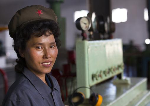 North Korean female worker at Hungnam nitrogen fertilizer plant, South Hamgyong Province, Hamhung, North Korea