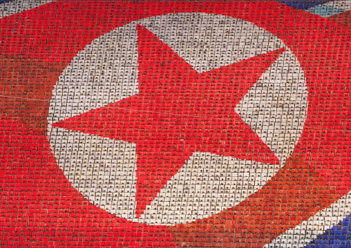 North Korean flag made by human pixels holding up colored boards during Arirang mass games in may day stadium, Pyongan Province, Pyongyang, North Korea