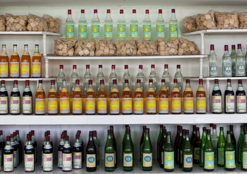 Drinks for sale in a North Korean village shop, South Hamgyong Province, Hamhung, North Korea