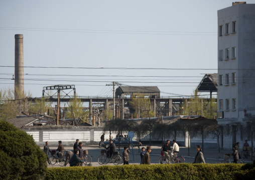 North Korean people going to work in front of a factory, North Hamgyong Province, Chongjin, North Korea