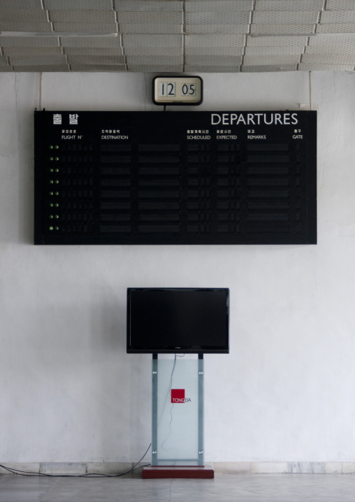 No flights scheduled on the departures billboard in Sunan international airport, Pyongan Province, Pyongyang, North Korea