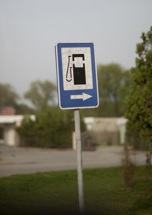 Petrol station sign in the street, Pyongan Province, Pyongyang, North Korea