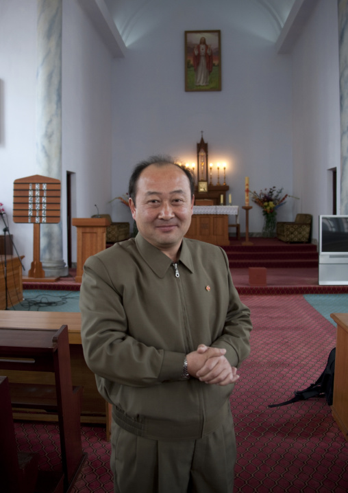 North Korean official in charge of changchung cathedral, Pyongan Province, Pyongyang, North Korea