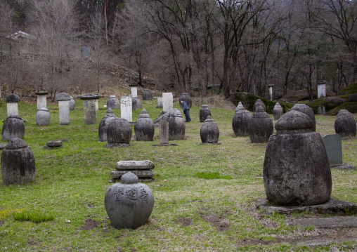 Funerary jars and steles for the monks in Pohyon temple, Hyangsan county, Mount Myohyang, North Korea