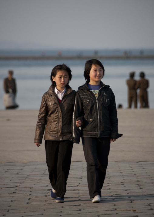 North Korean girls having a walk on the jetty, Kangwon Province, Wonsan, North Korea