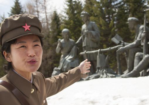 Portrait of a North Korean guide in military uniform in mount Paektu, Ryanggang Province, Samjiyon, North Korea