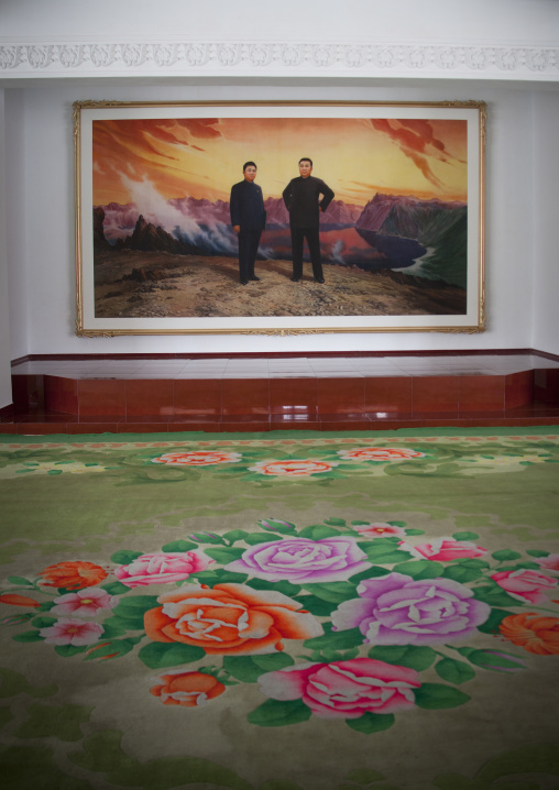 Hotel hallway with a painting of Kim il Sung and Kim Jong il in front of mount Paektu, Ryanggang Province, Samjiyon, North Korea