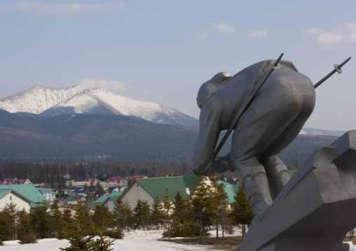Statue of a skier in front of mount Paektu, Ryanggang Province, Samjiyon, North Korea