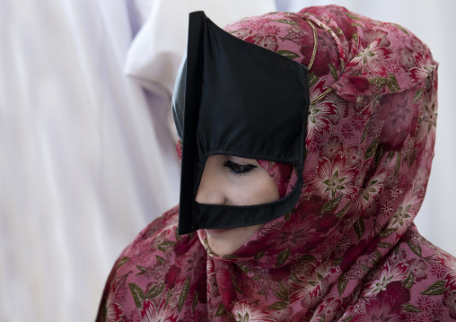 Bedouin Masked Woman In Pink Floral Niqab, Sinaw, Oman