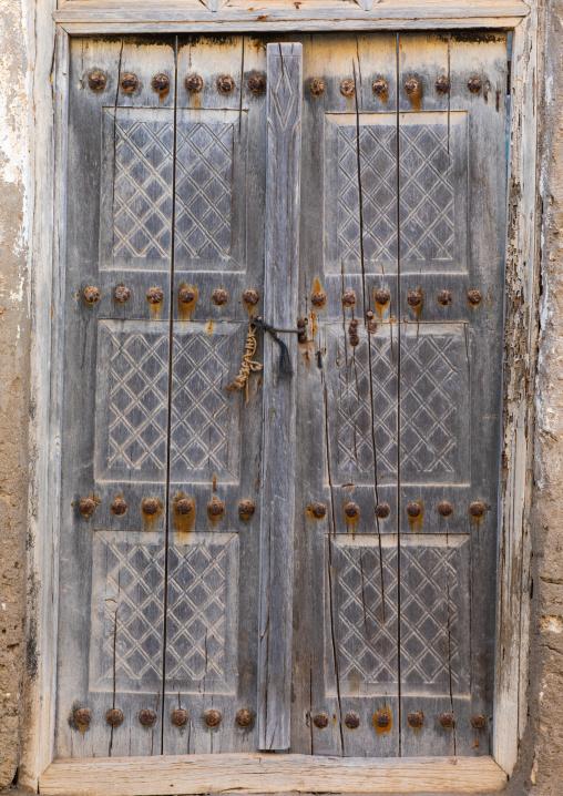 Omani wooden door, Dhofar Governorate, Mirbat, Oman
