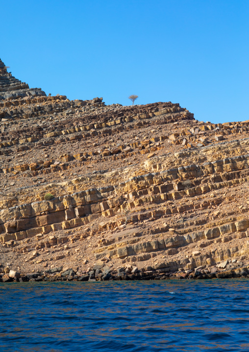 Fjords in front of mountains, Musandam Governorate, Khasab, Oman