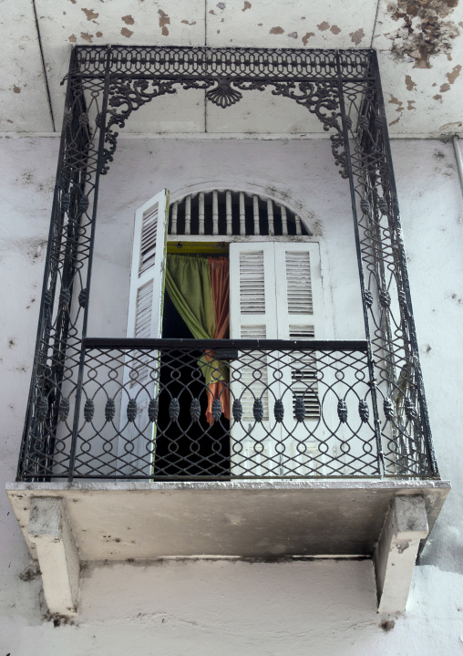 Panama, Province Of Panama, Panama City, Nice Balcony Of The Old District In Casco Viejo