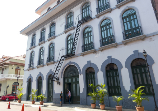 Panama, Province Of Panama, Panama City, Beautiful Spanish Colonial House With Wrought Iron And Plants Of The Old District In Casco Viejo