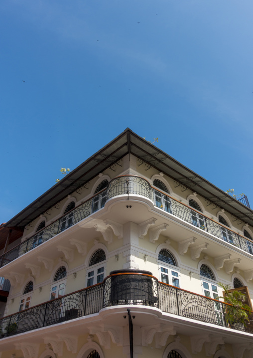 Panama, Province Of Panama, Panama City, Nice Facades And Balconies Of The Old District In Casco Viejo