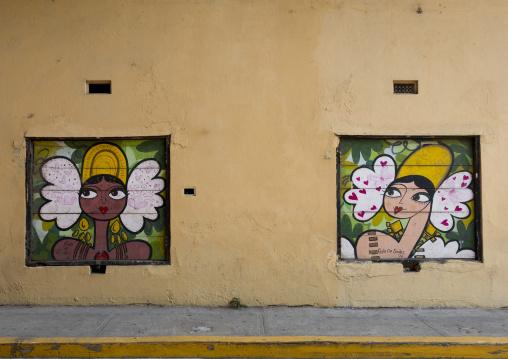 Panama, Province Of Panama, Panama City, Rolo De Sedos Painting On The Walls In Casco Viejo