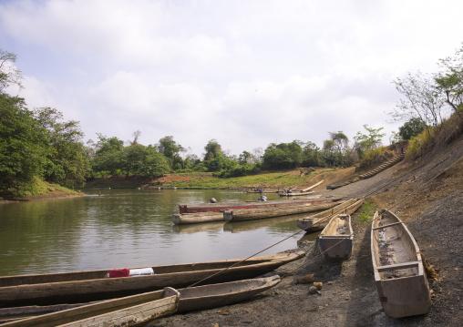 Panama, Darien Province, Filo Del Tallo, Boats On Río Chucunaque