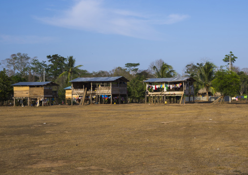 Panama, Darien Province, Alto Playona, Embera Indian Houses In A Village