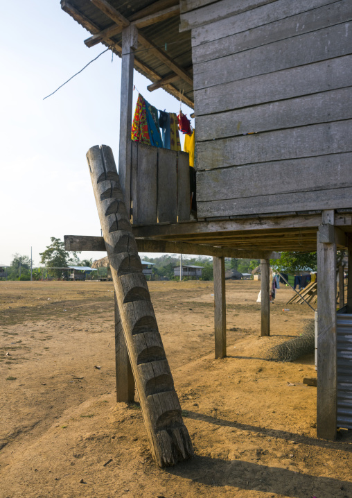 Panama, Darien Province, Alto Playona, Ladder On An Embera Indian House