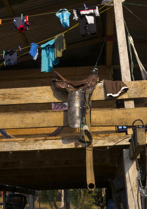 Panama, Darien Province, Alto Playona, Horse Saddle In An Embera Indian House