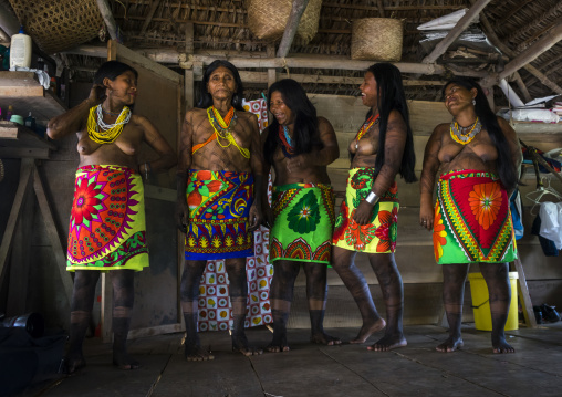 Panama, Darien Province, Bajo Chiquito, Laughing Women Of The Native Indian Embera Tribe