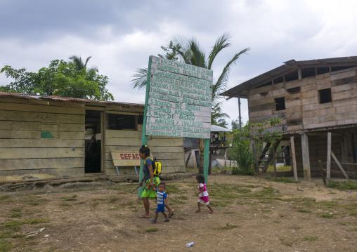 Panama, Darien Province, Bajo Chiquito, Embera Tribe Village Entrance