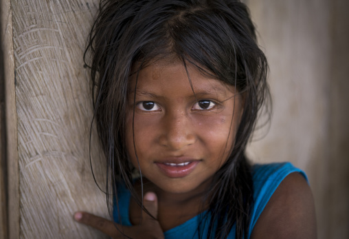 Panama, Darien Province, Bajo Chiquito, Portrait Of An Embera Tribe Girl