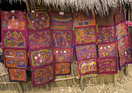 Panama, San Blas Islands, Mamitupu, Colorful Hand Stitched Kuna Indian Mola