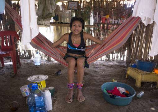 Panama, San Blas Islands, Mamitupu, Portrait Of A Cute Kuna Tribe Woman In Her Hammock
