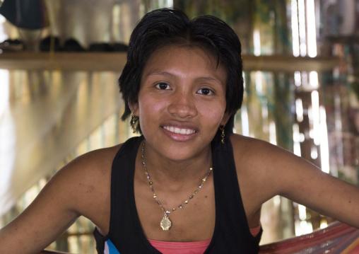Panama, San Blas Islands, Mamitupu, Portrait Of A Cute Kuna Tribe Woman