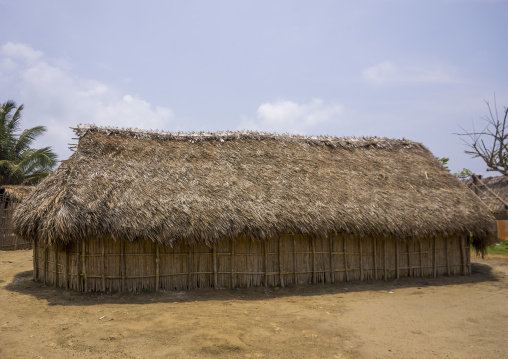 Panama, San Blas Islands, Mamitupu, Typical Kuna Tribe Homes With Thatched Roofs