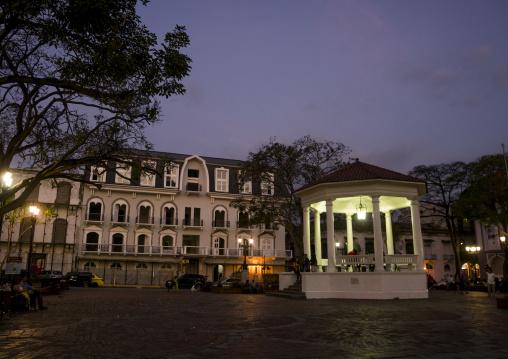 Panama, Province Of Panama, Panama City, Independance Plaza In Old City Casco Viejo At Night