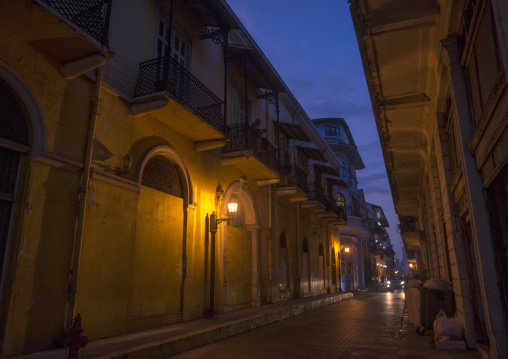 Panama, Province Of Panama, Panama City, Streets Of Casco Viejo At Sunset
