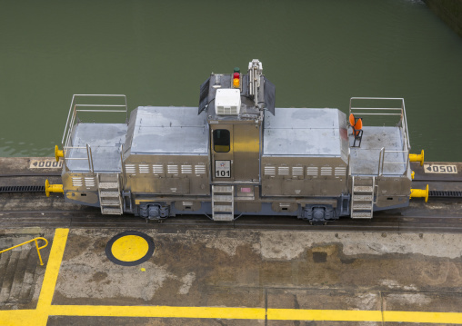 Panama, Province Of Panama, Panama City, Mule Train In Miraflores Locks In The Panama Canal