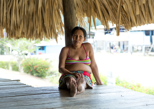 Panama, Darien Province, Puerta Lara, Woman Of Wounaan Native Community Resting