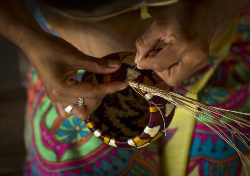 Panama, Darien Province, Puerta Lara, Wounaan Woman Weaves A Shallow Basket