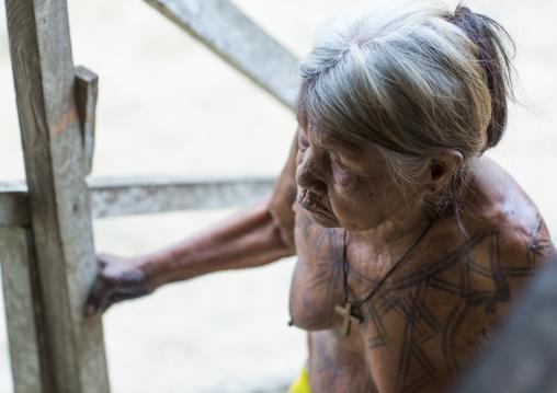 Panama, Darien Province, Puerta Lara, Woman Of Wounaan Native Community With Ink Tattoos