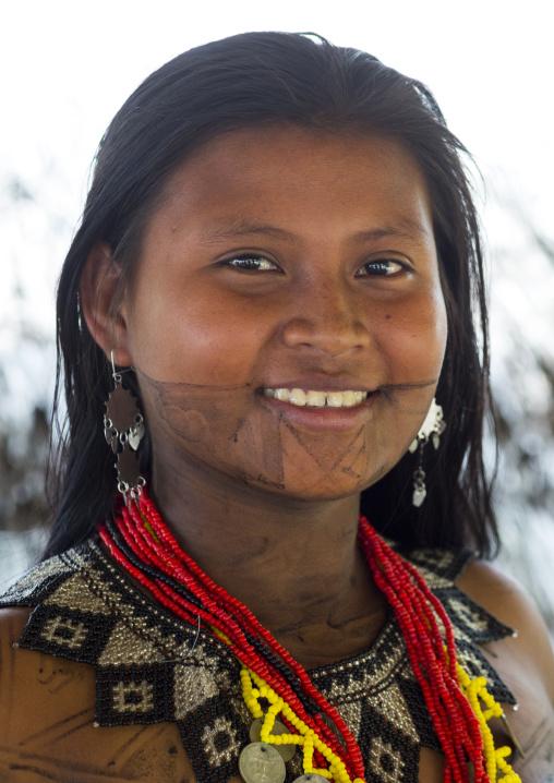 Panama, Darien Province, Bajo Chiquito, Woman Of The Native Indian Embera Tribe Portrait